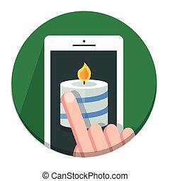 Vector Circle Christmas icon flat candle