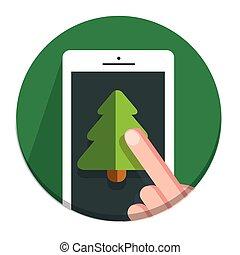 Vector Circle Christmas icon flat tree