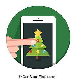 Vector Circle Christmas icon flat