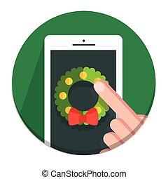 Vector Circle Christmas icon flat wreath