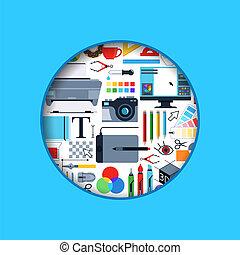 Vector circle digital art design icons illustration - Vector...