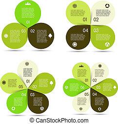 Vector circle eco infographics set