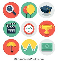 Vector circle flat icon collection
