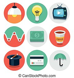 Vector circle flat icon collection set