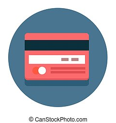 Vector circle flat icon credit card