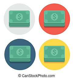 Vector circle flat icon dollars