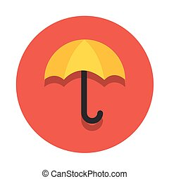 Vector circle flat icon umbrella