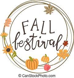 Vector circle frame for a fall festival