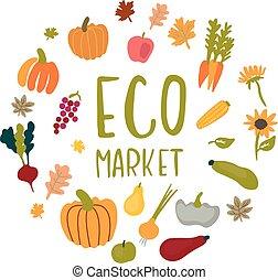 Vector circle frame for an eco market