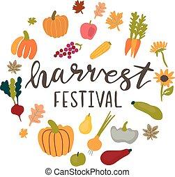 Vector circle frame for harvest festival
