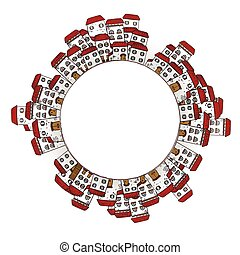 Vector circle frame with houses.