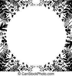 Vector circle frame with wild plants.