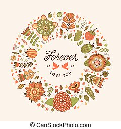 Vector circle frame, wreath made of flowers.
