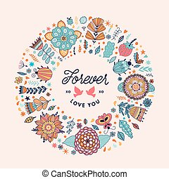 Vector circle frame wreath made of flowers.