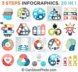 Vector circle infographic set. Business diagram, arrows graph, startup logo presentations, idea pie chart. Data options, 3 parts, steps, processes. Human brain, stairs, eco leaves, heart sign, puzzle.