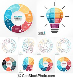 Vector circle infographic set. Business diagrams, arrows graphs, linear presentations, idea cycle charts. Data options, parts, 7 steps. Light bulb, human head, puzzle.