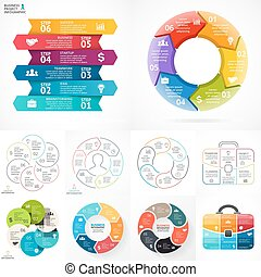 Vector circle infographic set. Business diagrams, arrows graphs, linear presentations, idea cycle charts. Data options, parts, 6 steps.