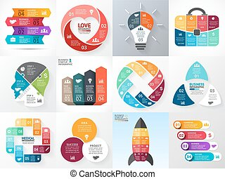 Vector circle infographic set. Business diagrams, arrows graphs, startup logo presentations, idea charts. Data options, 3, 4, 5, 6, 8 parts, steps, processes. Heart, bulb, head, rocket, medical plus.