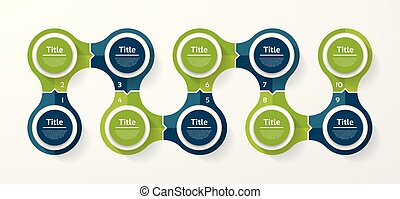 Vector circle infographic. Template for cycle diagram, graph, presentation and round chart. Business concept with 10 options, parts, steps or processes. Abstract background.