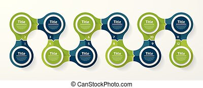 Vector circle infographic. Template for cycle diagram, graph, presentation and round chart. Business concept with 12 options, parts, steps or processes. Abstract background.