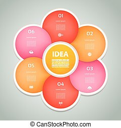 Vector circle infographic. Template for diagram, graph, presentation and chart. Business concept with 6 cyclic options, parts, steps or processes. Abstract background.