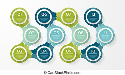 Vector circle infographic. Template for diagram, graph, presentation and chart. Business concept with 12 options, parts, steps or processes. Abstract background.