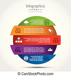 Vector circle infographic template for diagram, graph, presentation and round chart. Business startup concept with 5 options, parts, steps, processes.