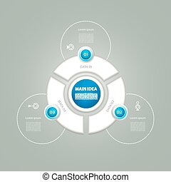 Vector circle infographic. Template for diagram, graph, presentation and chart. Business concept with 3 cyclic options, parts, steps or processes. Abstract background.