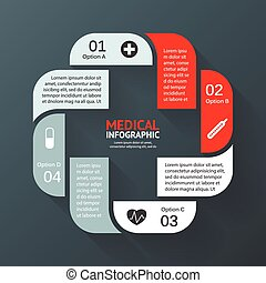 Vector circle plus sign infographic. Template for diagram,...