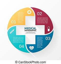 Vector circle plus sign infographic. Template for diagram, graph, presentation and chart. Medical healthcare concept with 4 options, parts, steps or processes. Doctor or hospital logo.