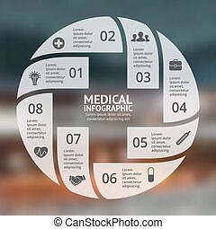Vector circle plus sign infographic. Template for diagram, graph, presentation and chart. Medical healthcare concept with 8 options, parts, steps, processes. Doctor or hospital logo.