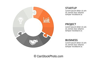 Vector circle puzzle infographic, cycle diagram, graph, presentation chart. Business concept with 3 options, parts, steps, processes. 16x9 slide template.