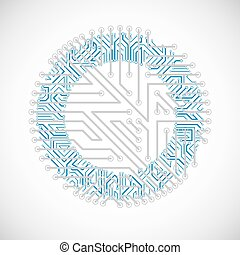 Vector circuit board circle, digital technologies...