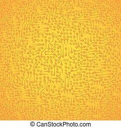 Vector circuit board electronic abstract golden background. High tech digital art