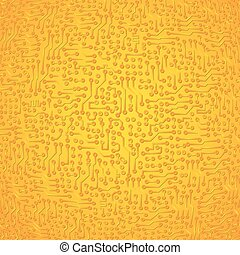 Vector circuit board electronic abstract golden background. High tech digital art
