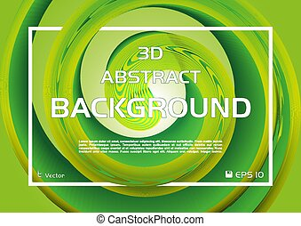 Vector circular abstract colorful background with 3D spiral in green color