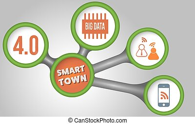 Vector circular boxes and smart town icon