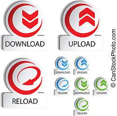 Vector circular buttons - download, reload, upload