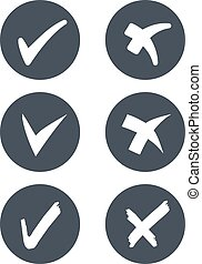 Vector circular check mark symbols - rounded grey buttons