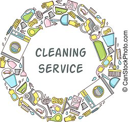 Vector circular doodle illustration of cleaning equipment