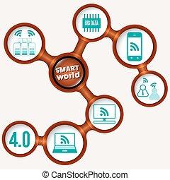 Vector circular frames and smart world symbols