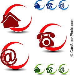 Vector circular navigation symbols - home, phone, e-mail
