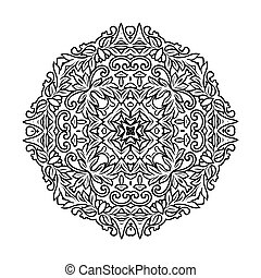 Vector circular ornament. Mandala design. Isolated on white.