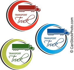 Vector circular symbol of transport with silhouette of truck, lorry. Red, blue and green design.