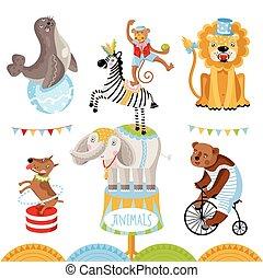 Vector Circus animals perform tricks. - Vector circus ...