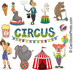 Vector circus funfair and fairground icon set - Colorful...