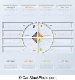 vector, cirkel, infographic, ontwerp, mal