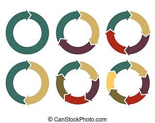 vector, cirkel, infographic, pijl