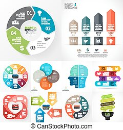 vector, cirkel, infographic, set