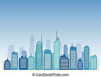 Vector cities blue buidling design